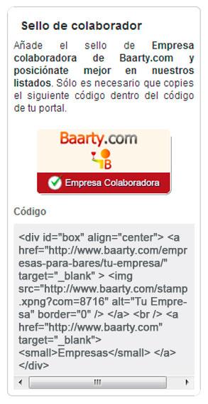 Código de sello colaborador en Baarty.com