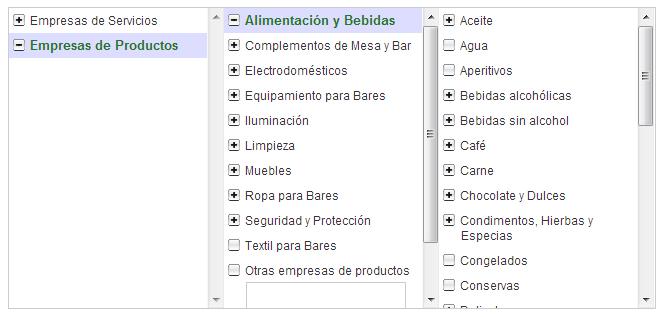 Categorías de productos y servicios