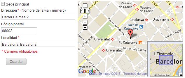 Podrás ver que la localización de tu empresa en el mapa