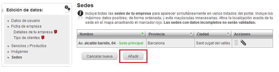"""Clica en el botón """"Añadir"""" para incluir nuevas sedes de empresas"""