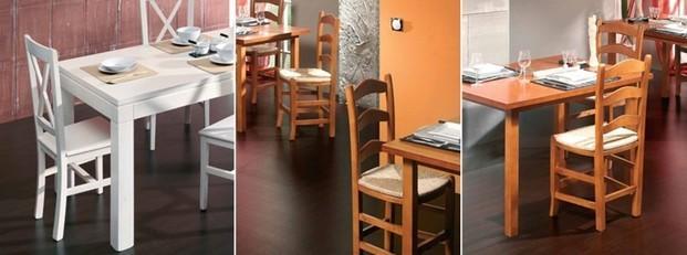 Sillas y mesas. Mobiliario para hostelería
