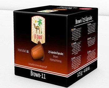 El Dátil brown. Esta cápsula está elaborada con cafés de Brasil, Colombia y un 10% de Torrefacto