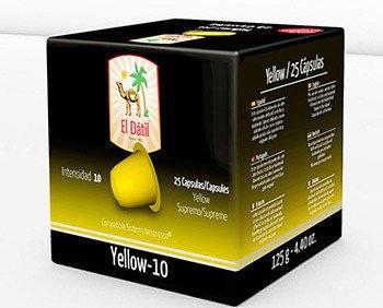El Dátil Yellow. Cápsula de sabores delicados con un ligero toque de sabor a frutos secos e intenso paladar características originales de sus granos de...