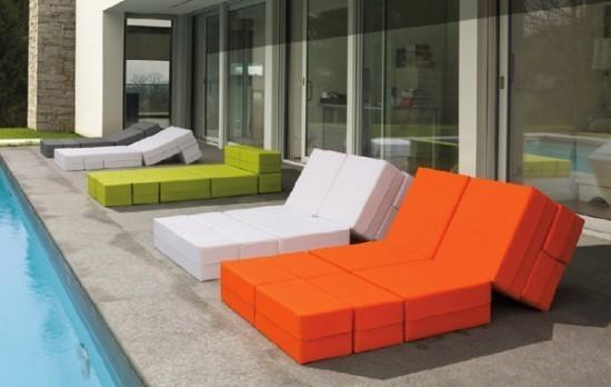 Mobiliario de Exterior.Sillon para exterior e interior que puede adoptar formas variadas