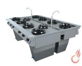 Cocina serie T. Combinación de 2 modelos lineales o murales pensados para situarlos en la zona central de la cocina.