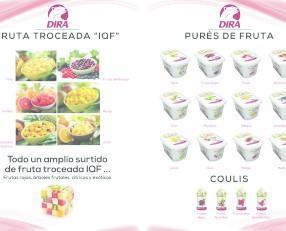 Batidos.Fruta troceada y pures de fruta para elaboración en cocina, reposteria, helados, etc..