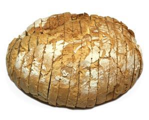 Pan payes. Pan cocido y cortado