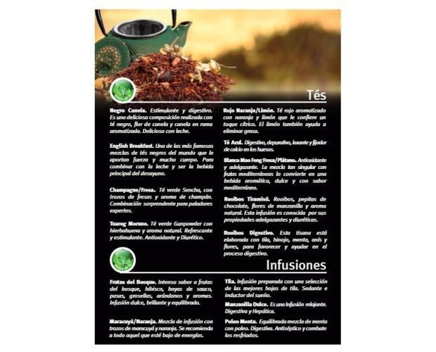 Carta de tés. Confecciones cartas de té