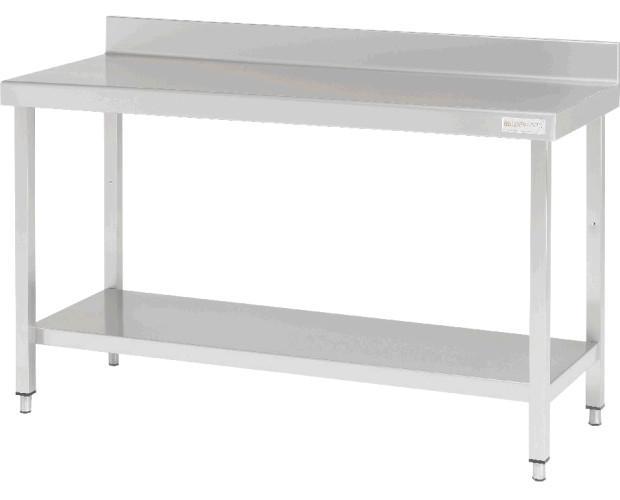 Mesa de trabajo inox. Encimera en acero inox AISI 304 de 1mm acabado satinado, frontal de 60 mm, peto de 100 mm, totalmente soldada