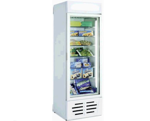 Congelador Vertical Expositor. Exterior e interior en chapa galvanizada pintada a epoxy.