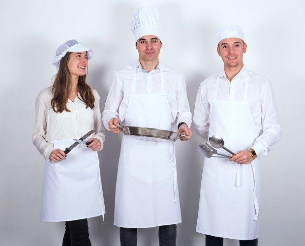 Delantal blanco chef. Delantal blanco, gorro champiñón, bandana chef