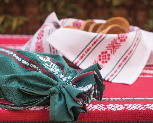Mantel Paño Vasca. Mantel, servilletas, bolsa de pan tejido Vasca