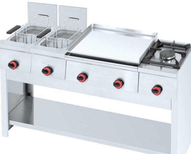 Combinacion gama 450. Cocina modular, compuesta por : Freidora eléctrica 2 cubas de 8+8 lts. Plancha cromo duro a gas de 600 mm. Hornillo a gas Soporte con...
