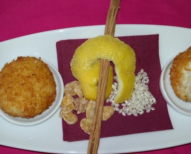 Arroz con leche. Croqueta de arroz con leche y maíz azucarado
