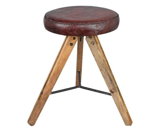 Melan Taburete. De madera de mango y asiento de cuero