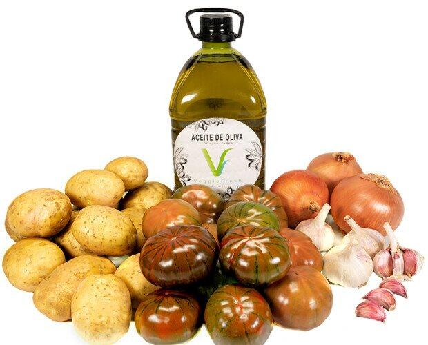 Veggie Box Laujar Premium. 3L de Aceite de Oliva Virgen Extra y una selección de 6,5Kg de verdura