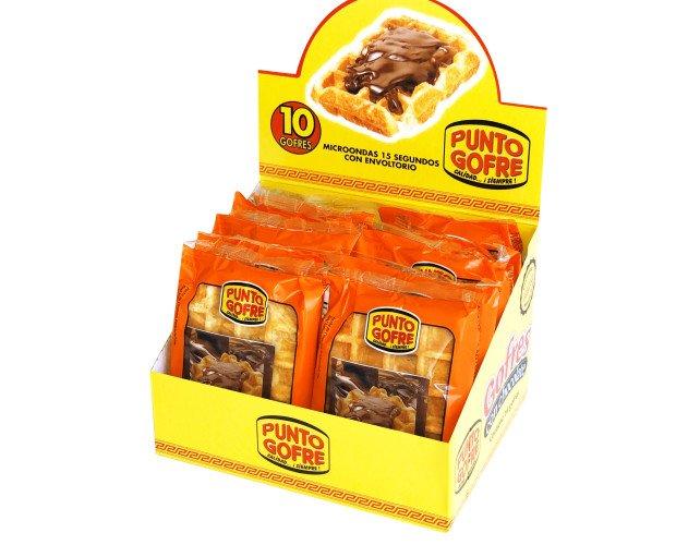 Caja expositora 10 u. Gofres con chocolate. Gofres envasados individualmente con un sobre de crema de chocolate en su interior. Listos para consumir.