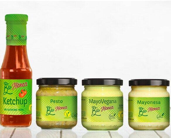 Salsas. Salsas Veganas. Gama de salsas ecológicas Bio d'Atenea