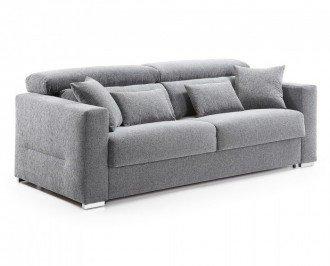 Sofá cama Borbón. Modelo tapizado en tejido en color gris, con apoyacabezas reclinable