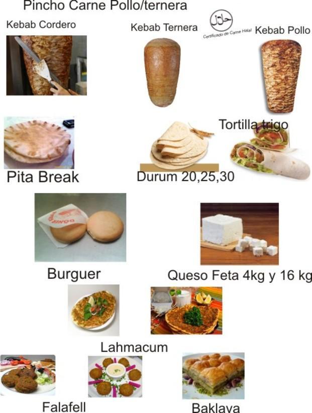Hamburguesas.Kebap, tortilla, queso feta, falafell