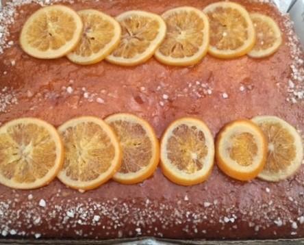 Planchas de Pastelería.Delicioso bizcocho de naranja