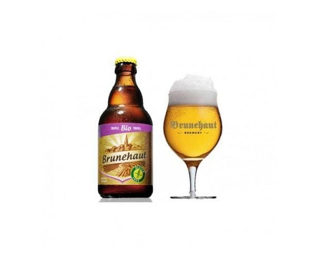 Cerveza Brunehaut triple. Cerveza belga, botella de 33 cl
