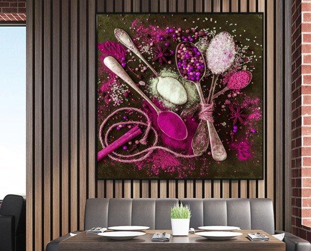 Cuadro con especias. Para decoración de hostelería con colores de moda