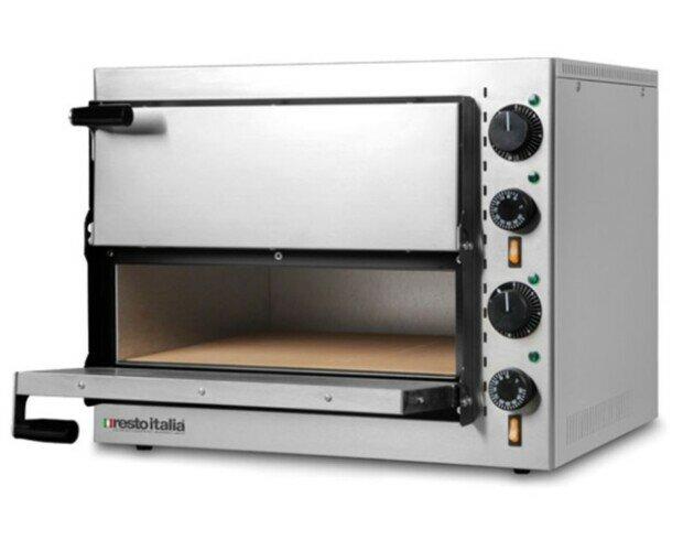Horno para pizza. Horno para pizza eléctrico con piedra refractaria y 2 cámaras de cocción