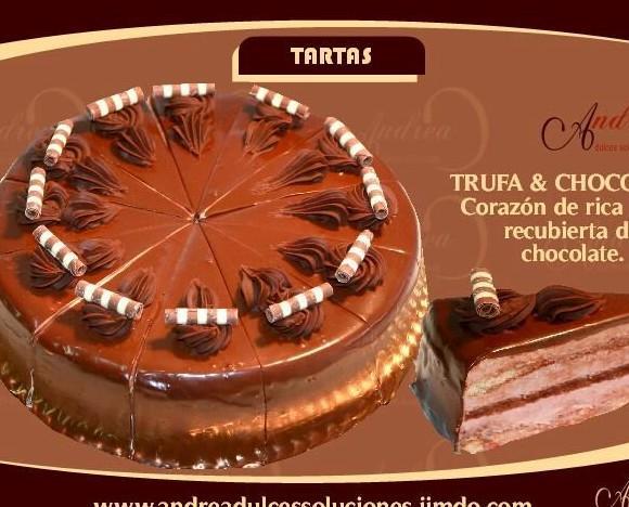 Trufa y chocolate. Tarta de trufa y chocolate 12 porciones