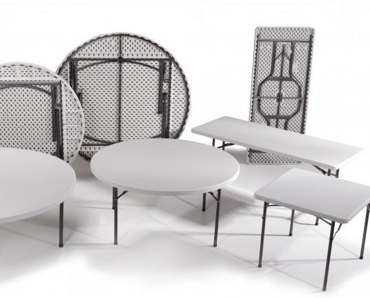 Mesas plegables. Amplia selección de mesas plegables, redondas, cuadradas, rectangulares y tipo maleta.
