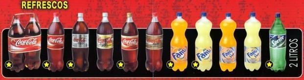 Refrescos. En botellas de 2 litros