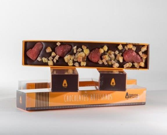 Chocolate de fresa y naranja. Chocolatina gourmet - Bombones Torres (Navarra)