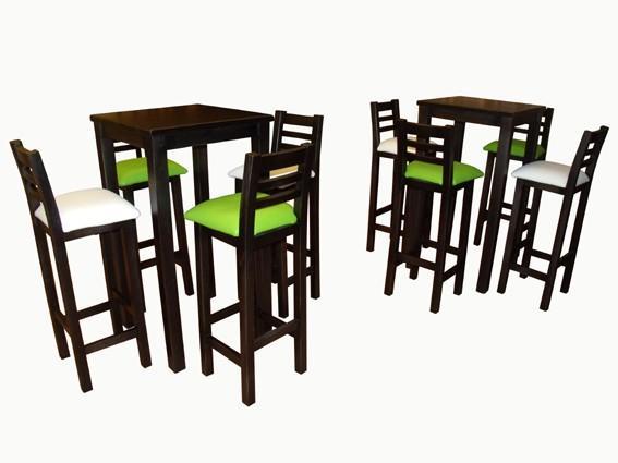 Mesas.Taburetes altos con respaldo y tapizados