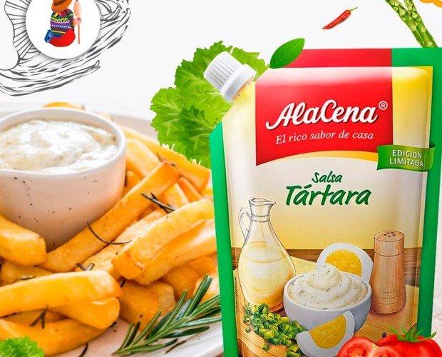 Salsa tártara Alacena. Se prepara a base de aceite y huevo para acompañar pescado, ensaladas, pastas y comidas fritas.