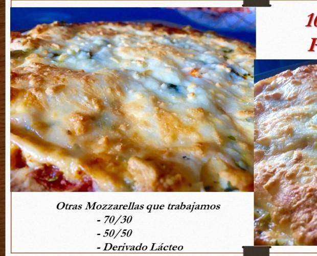 Pizzas Congeladas.Mozzarella 100%, 70/30, 50/50, lácteo, ....