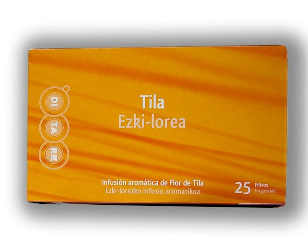 Tila Flor. Envasada individualmente en caja de 25 unidades.