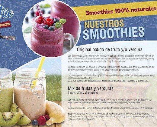 Smoothies.Gama Smoothies naturales de fruta y verdura IQF.