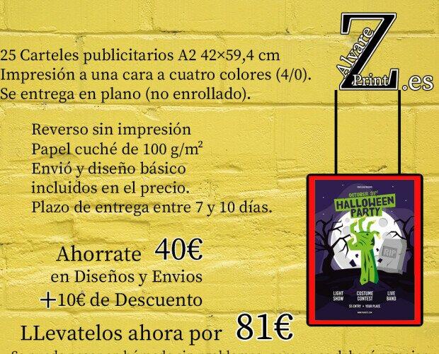 Impresión Digital.Carteles publicitarios A2 42×59,4 cm Impresión a una cara a cuatro colores (4/0).