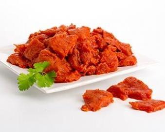 Pincho Rojo. Elaborados en un 100% con carne de jamón de cerdo.