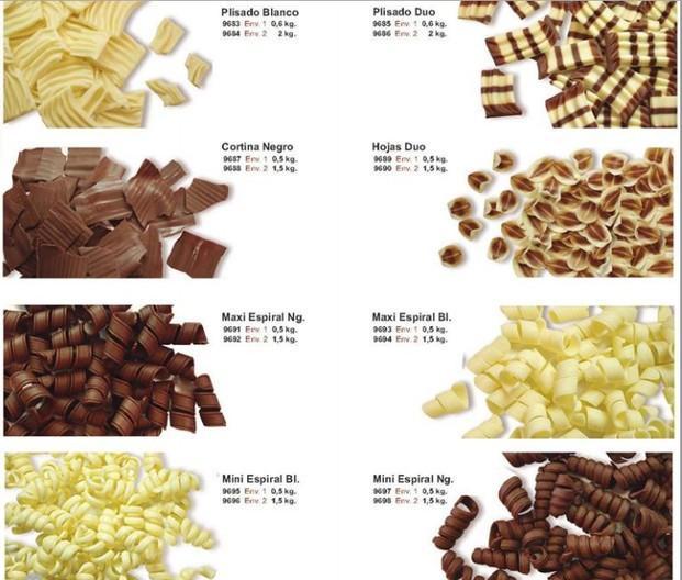 Decoración en chocolate. Cortina, Plisados, Espirales y más