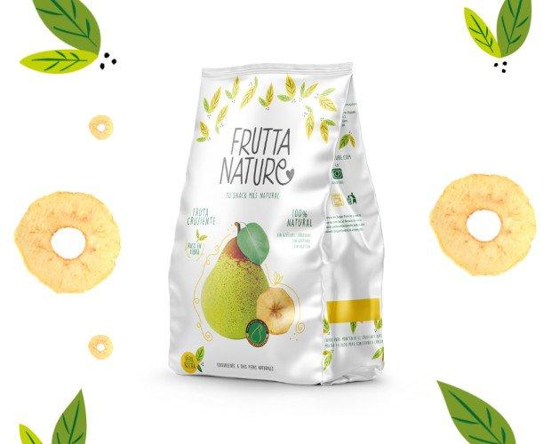 Snack Pera Rocha. Un snack de fruta deshidratada 100% natural, sin aditivos. Sin gluten. Vegano.