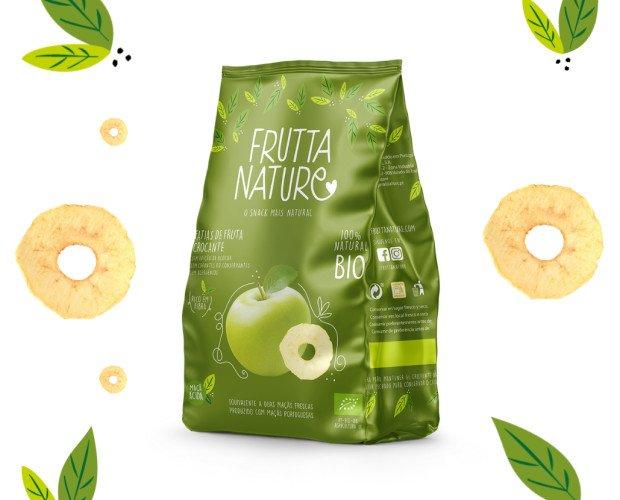 Snack Manzana BIO. Un snack de fruta deshidratada 100% natural y BIO, sin aditivos. Sin gluten. Vegano.