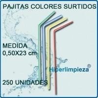 Pajitas de colores. Envase de 250 unidadres