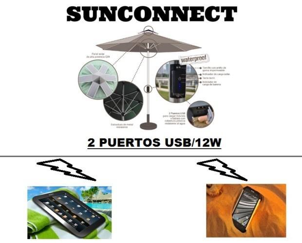 Parasol cargador. Combina un parasol con un sistema de carga(USB) ecológico para que no te quedes sin batería