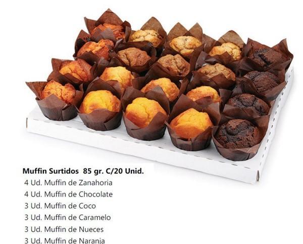 Muffins surtidos. 20 unidades por caja