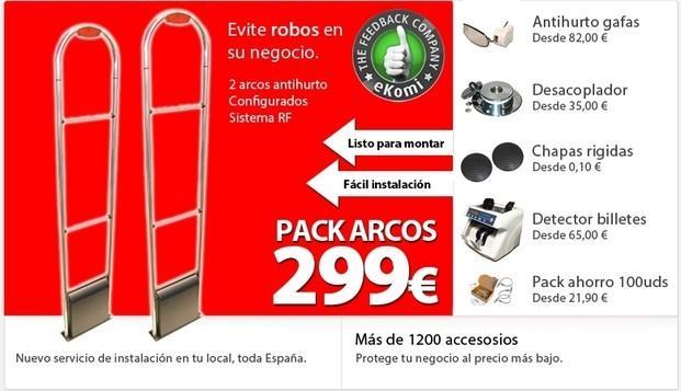 Equipamiento . Oferta de equipamiento antihurto para comercios. Pack arcos antihurto completo.