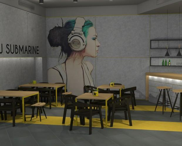 Diseño cafeteria. Proyecto interiorismo para Coffe & music bar.
