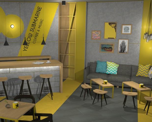 Diseño cafeteria. Proyecto de interiorismo para Coffe & music Bar