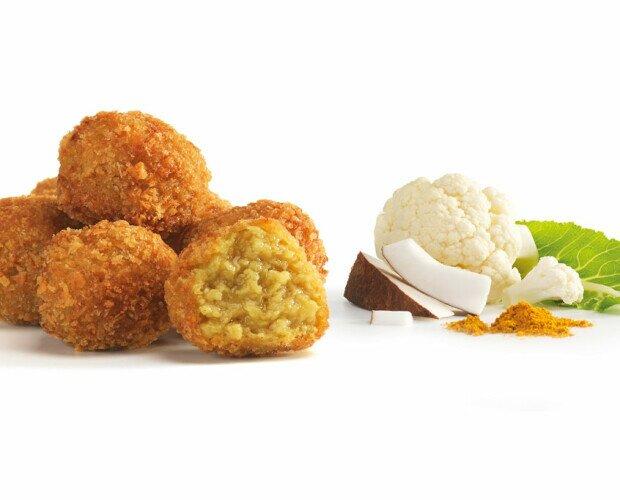 Croquetas veganas. Croquetas Veganas de coliflor, leche de coco y curry