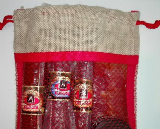 Lote Ibérico Yute. Lote Low Cost de loncheados ibéricos en bolsita de Yute de diseño elegante en rojo